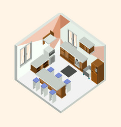 kitchen natural wood isometric home interior vector image