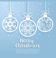 merry christmas ball paper cut art vector image vector image