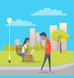 people using modern gadgets relax in urban park vector image vector image