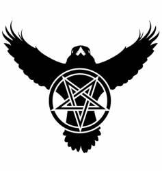 raven crow pentagram star vector image