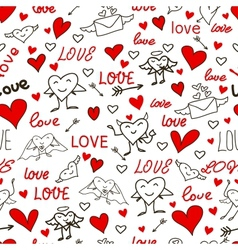 seamless love and heart background vector image vector image