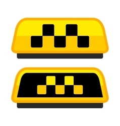 Yellow Taxi Logo Set with Boxes vector image vector image