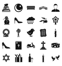 divine service icons set simple style vector image