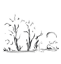 hand drawn with trees cartoon vector image vector image
