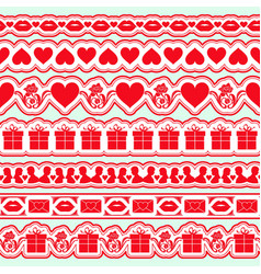 set of seamless valentine day borders elements vector image