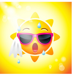 sun face icons or yellow funny faces in vector image vector image