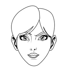 beauty face woman short hair comic style vector image