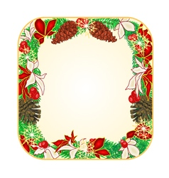 Button square Christmas Spruce and poinsettia vector image vector image