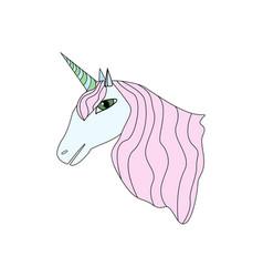 cartoon style unicorn isolated on white background vector image