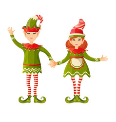 elf boy and girl holding hands human-shaped vector image