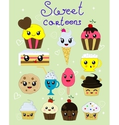 set of four kawaii cupcakes vector image