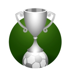 Soccer ball trophy silver cup vector image vector image