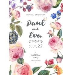 Vintage floral roses wedding invitation vector