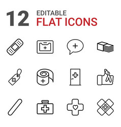 12 aid icons vector