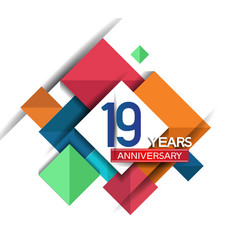 19 years anniversary design colorful square style vector