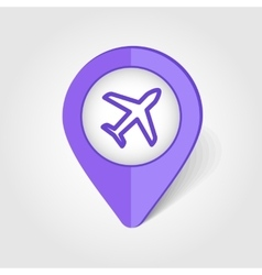 Aircraft Plane Airplane map pin icon vector image
