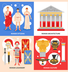 Ancient rome flat concept vector