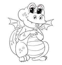 Animal outline for cute dragon vector