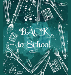 back to school background with brushes crayons vector image