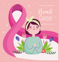 breast cancer cute woman with pink huge ribbon vector image