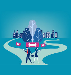 business people with crossroad concept vector image