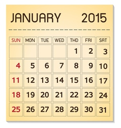 calendar 2015 01 January vector image