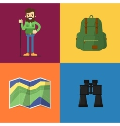 Camping equipment symbols and icons vector image