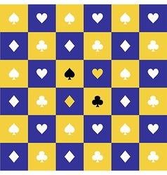 Card Suits Yellow Blue Chess Board Background vector image