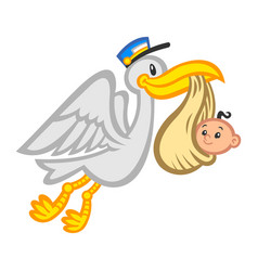 cartoon flying stork bird delivering a baby vector image