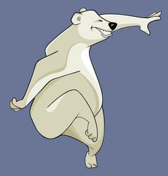 Cartoon of a smiling polar bear fun dancing vector