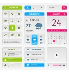 Colorful set of mobile interface elements on gray vector image