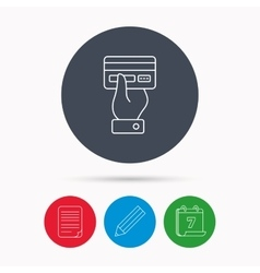 Credit card icon Giving hand sign vector