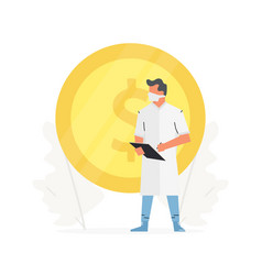 doctor stands in front a large gold coin vector image