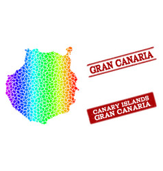 Dotted spectrum map of gran canaria and grunge vector