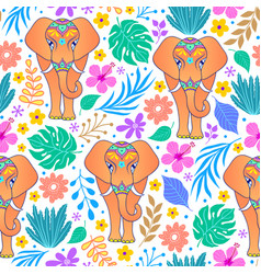 Elephants and tropical flowers vector