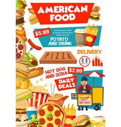 fast food restaurant menu junk meal drinks vector image