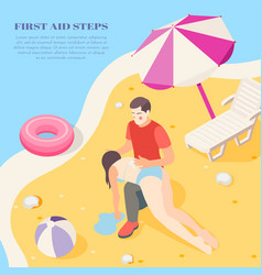 first aid isometric background vector image