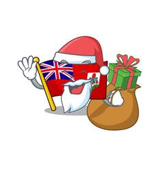 Flag bermuda cartoon on pole santa bring vector