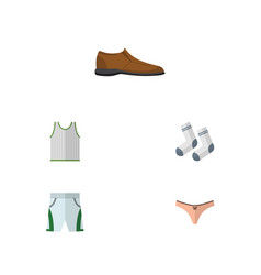 Flat icon dress set of male footware trunks cloth vector