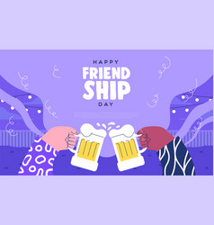 Friendship day beer drink toast web template vector