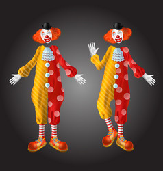 Funny clown character in colorful costume set vector