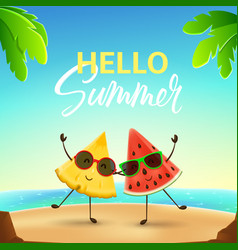 funny summer banner with fruit characters vector image