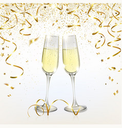 glasses with champagne and golden confetti vector image