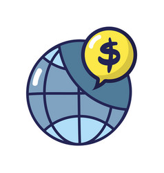 global connection with dollar symbol inside chat vector image