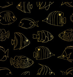 gold foil fish on black seamless pattern vector image