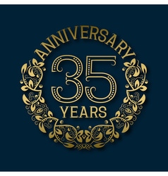 Golden emblem thirty fifth years anniversary vector