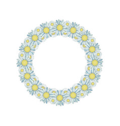 greeting card with the wreath of daisies on white vector image