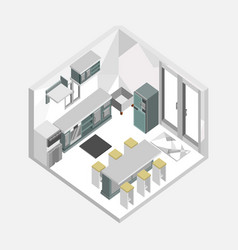 grey color kitchen isometric home interior design vector image