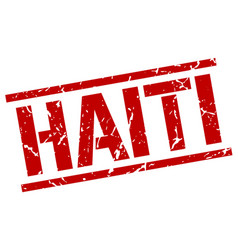 Haiti red square stamp vector