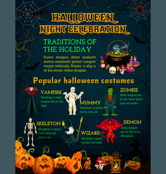 halloween celebration poster with horror pumpkin vector image